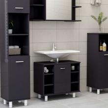 vidaXL badeværelsesskab 60x32x53,5 cm spånplade grå højglans