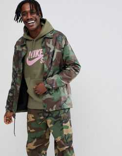 Nike SB Camo Coach Jacket In Green AH5505-222 - Green