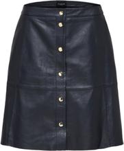 SELECTED Short - Leather Skirt Women Blue