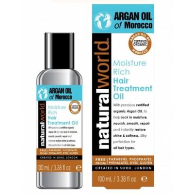 Natural World Moroccan Argan Oil Hair Treatment Oil 100 ml