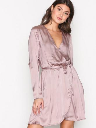 NLY Trend Satin Wrapped Dress Skater Dresses Cafe Creme