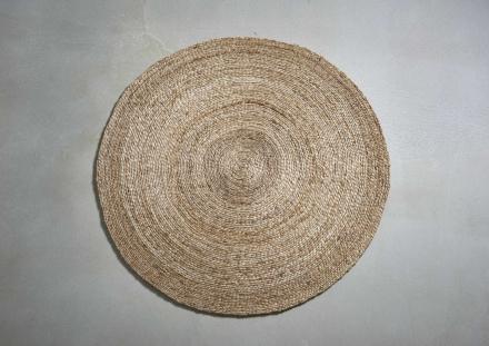 Tæppe i palmeblade, dia. 100, natur