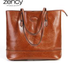Zency 100% Genuine Leather Fashion Brown Women Shoulder Bag Large Capacity Shopping Bags Black Tote Handbag High Quality Purses