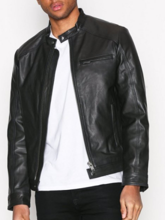 Selected Homme Shntylor Classic Leather Jkt Takit Musta