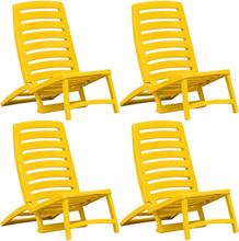 vidaXL Hopfällbara strandstolar 4 st plast gul