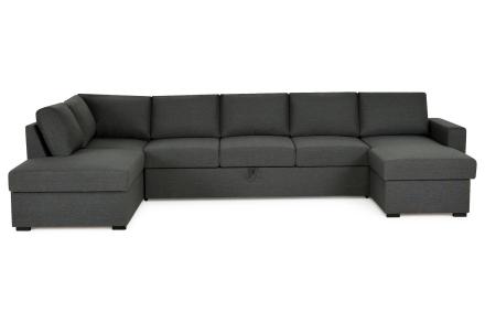 Miami Bäddsoffa Mörkgrå - U-soffa XL Vänster Plymåer