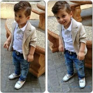 3 St Barn Baby Pojkar Skjorta Kappa Denim Byxor Gentleman Outfit