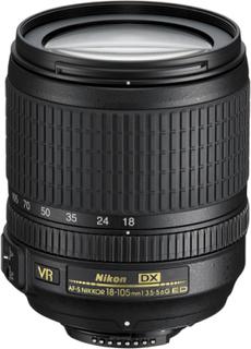 DX AF-S NIKKOR 18-105mm 1:3.5-5.6G ED Sort Nikon Objektiv