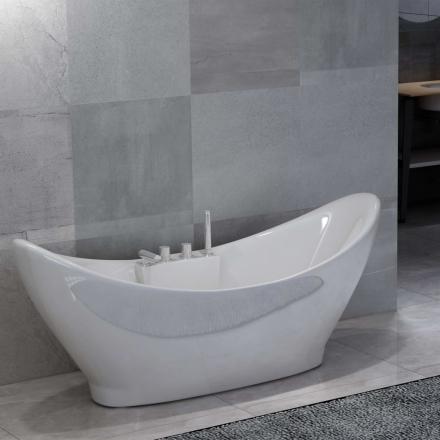 vidaXL Fristående badkar med blandare vit akryl 183 L
