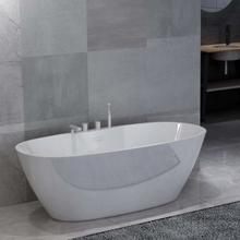 vidaXL Fristående badkar med blandare vit akryl 204 L