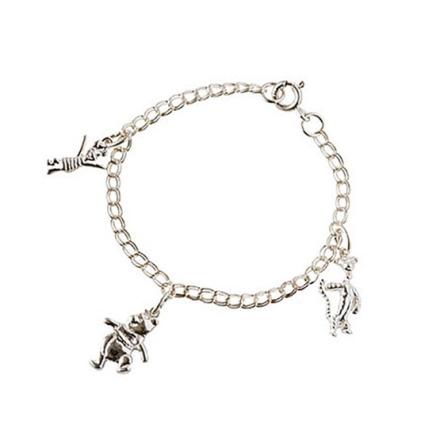 Dacapo Silver - Armband Nalle Puh M 3 Berlocker Äkta Silver
