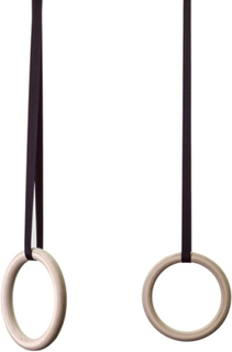 Mikka of Scandinavia - Romerska Ringar - 250 Cm Svarta Remmar - Obehandlat Trä