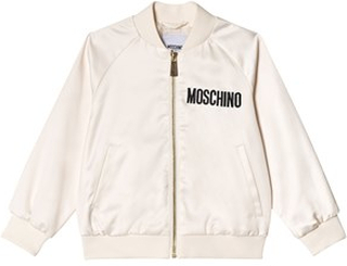 Moschino Kid-Teen Cream All Over Satin Bomber Jacket with Sequin Bear 12 years