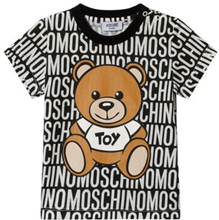 Moschino Kid-Teen Black All Over Branded Bear Tee 9-12 months
