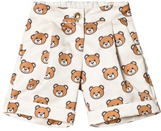 Moschino Kid-Teen Cream All Over Bear Satin Shorts 10 years
