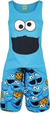 Sesam Stasjon - Krümelmonster - Face -Pyjamas - blå