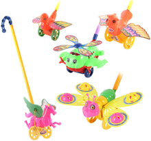 Funny Baby Toys Toddler Hand Push Toys For Kids Bee Duck Horse Aircraft Scroll Animal Wing Activity Baby Educational Toys Gift