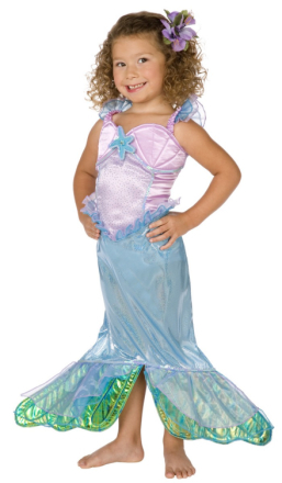 Sjöjungfrudräkt med rosa snäckskal - Maskeradkläder för barn 128 cm (5 - 7 år)