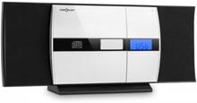 V-15 stereo CD MP3 USB FM AUX väckarklocka väggmontage svart
