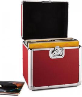 Tidskapsel aluminium-väska för grammofonskivor vinyl-case 70 styck LP röd