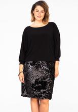 Dress wide sequin border M black