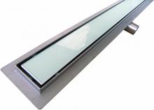 Afløbsrende i rustfri stål med hvidt glas 60 cm