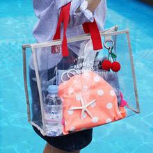 Transparent Pvc Jelly Beach Bag Women Handbags Clear Large Capacity Shoulder Bag Swimsuit Collect Bag Portable Waterproof Tote