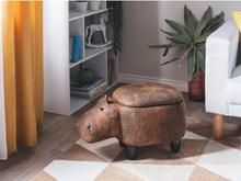 Beliani Sittpuff med förvaring konstläder ljusbrun HIPPO