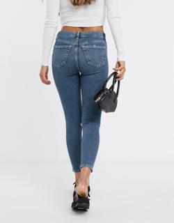 Topshop - Jamie - Grønne jeans i genanvendt bomuldsblanding med flænger på knæet