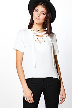 Charlotte Woven Lace Up Short Sleeve T-Shirt