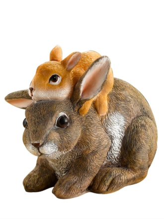 Harefigur med barn brun