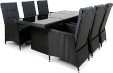 Matgrupp i konstrotting med 6 fällbara höga stolar