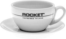 Rocket bred cappuccinokopp med fat