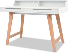 vidaXL Kirjoituspöytä MDF Pyökki 110x60x85 cm Valkoinen