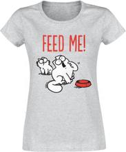 Simon' s Cat - Feed Me -T-skjorte - gråmelert