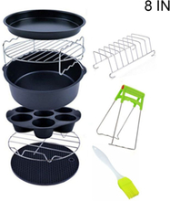 9pcs/set 6/7/8 Inches Air Fryer Accessories Pizza Tray Grill Toast Rack Insulation Pad 3.2QT-5.8QT Home Kitchen Parts