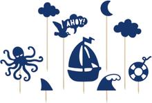 9 stk Kaketopper med Maritimt Motiv