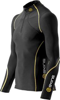 Skins A200 Mens Thermal L/S MckNeck w Zip - Kompressionströja - Svart/Gul2 - Utförsäljning