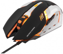 DELTACO GAMING optisk USB-gamingmus, 1000 - 3200 DPI, orange belysning, 1,5m USB