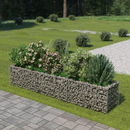 vidaXL Planteringsgabion i galvaniserat stål 270x50x50 cm