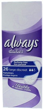 Always Dailies Flexible Pantyliners Large Discreet 26 stk