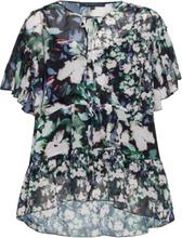Dreda Georgette Wrap Top Blouses Short-sleeved Multi/mønstret French Connection