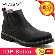 Plus Size 37-45 Chelsea Boots Men Winter Shoes Black Split Leather Boots Mens Footwear Warm Plush Fur Winter Boots For Men PINSV