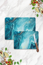 Blue Marble Looking Glass Cutting Board Set Two Pieces Design Kitchen Antibacterial Glass Cutting Board 20x30 and 30x40 Restrained