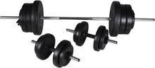 vidaXL Set med skivstång och 2 hantlar 60,5kg