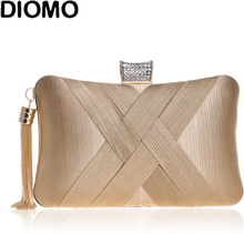 DIOMO 2020 Evening Bags Clutches for Women Fashion Ladies Luxury Tassel Purse Wedding Party Women Chain Bags Gold Black Green