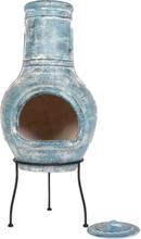 LA HACIENDA Blue Banded Large Mexico ovn - blåt ler og stål, rund (Ø40)