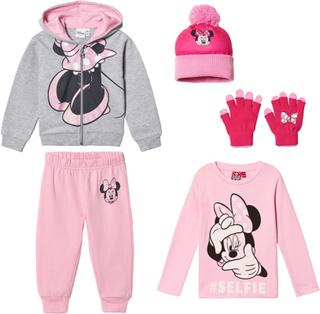 Disney Minnie MousePakke med Disney® Minnie Mouse lue og votter + langermet genser + joggedress i rosa/grå