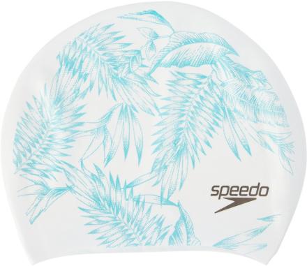 speedo Long Hair Printed Badehette Hvit/turkis 2018 Badehetter