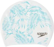 speedo Long Hair Printed Cap Dame white/jade 2018 Badehetter